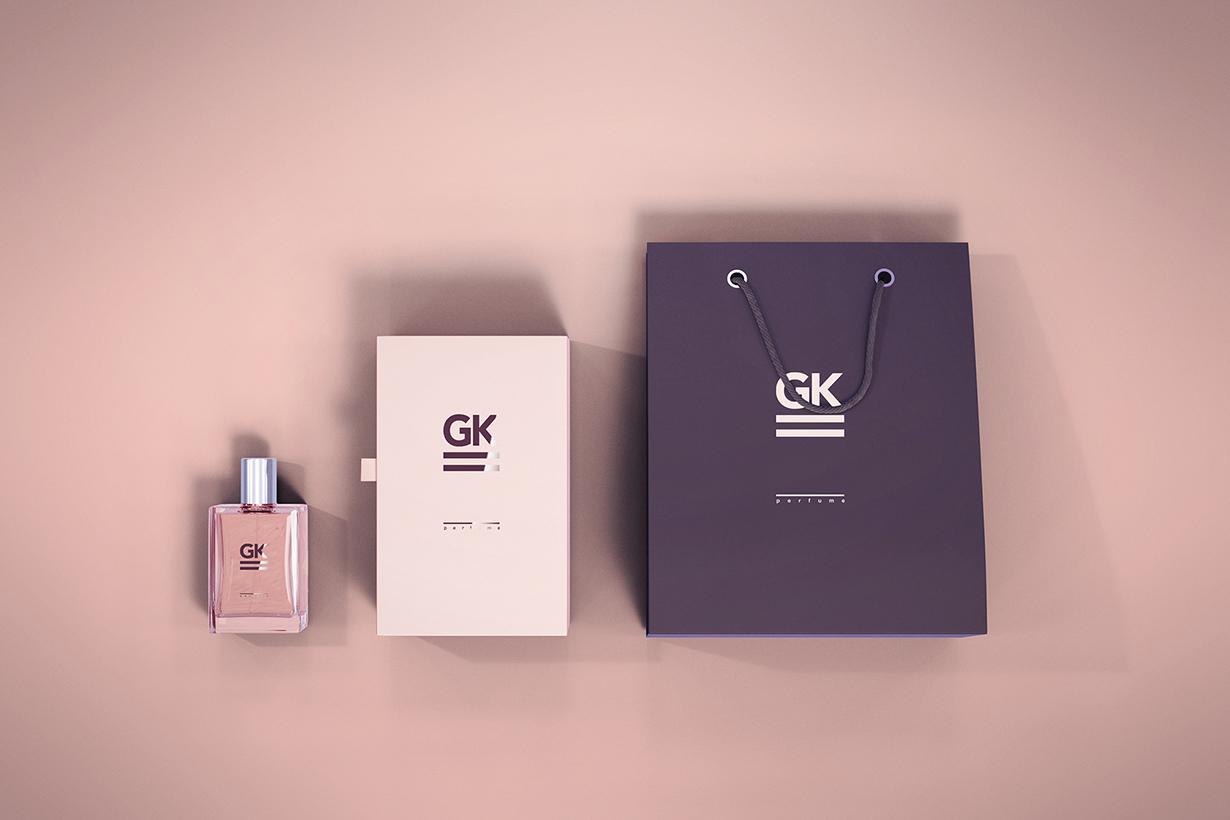 perfume bottle package mock-up